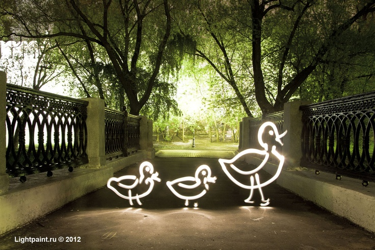 a family of ducks by Lightpaint.ru Moscow, Russia #light_art: Moscow Russia, Lightpaint Ru, Light Painting, Art Photography, Ducks Автор, Families, Russia Lights Art, Lights Paintings, Paintings Фризлайт