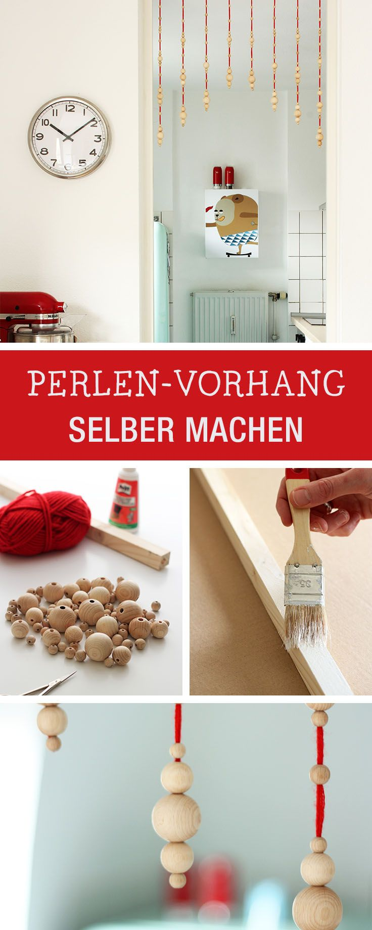 Kreative DIY-Anleitung: Perlenvorhang aus Holzperlen selbermachen, Boho Wohndeko / crafty inspiration: beaded curtain made of wooden pearls via DaWanda.com