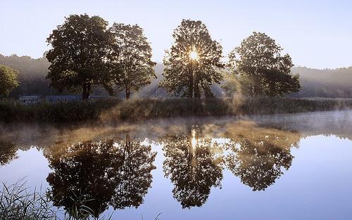 Wschód słońca nad jeziorem, Chojnowski Park Krajobrazowy, Mazowsze (Sunrise over Lake, Chojnowski National Park, Mazovia)