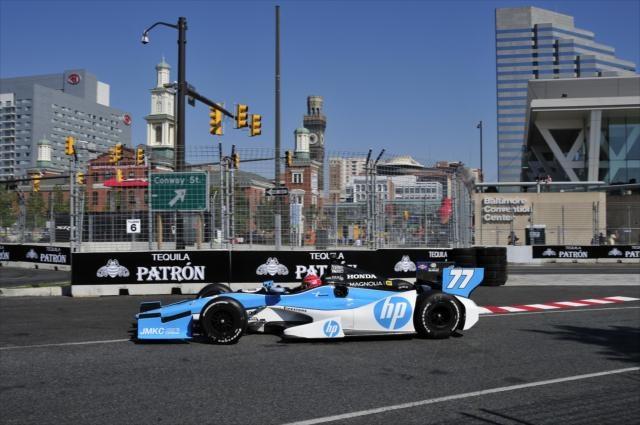 Simon Pagenaud on the street circuit for the Grand Prix of Baltimore.