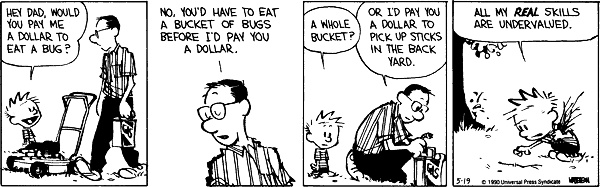 calvin and hobbes - a dollar to eat a whole bucket of bugs
