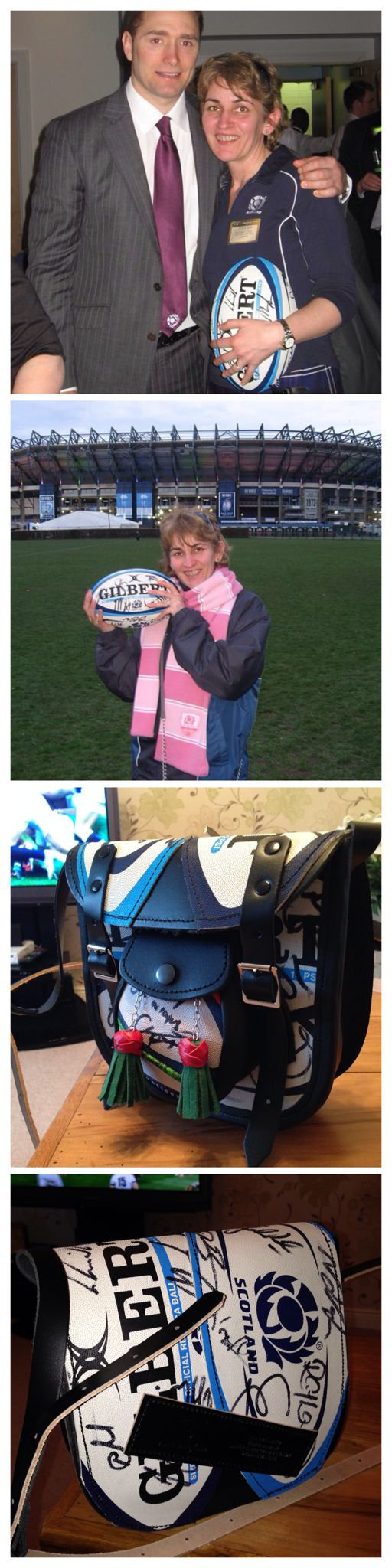 David and I won VIP tickets for Scotland v Italy at Murrayfield in March 2011. This is me with Dan Parks Scotland Rugby (and the signed rugby ball which I won on the day). You will see from the bottom two photos I've just had the ball made into a bag by Markus Bags. A truly one off hand-made bag and I love it!