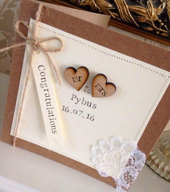 Personalised Wedding Card Hand Stamped Card Mr Mrs Card Rustic Wedding Card In 2020 Wedding Cards Handmade Homemade Wedding Cards Engagement Cards
