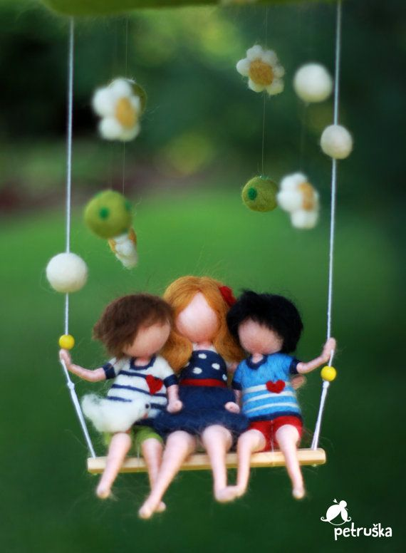 Family love baby mobile home decor felt by PETRUSKAfairyworld
