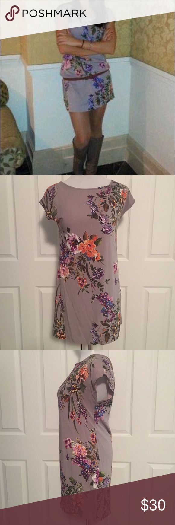 """Floral Shift Dress S Adorable purple Floral shift dress, size small from Stradivarius in Spain. Absolutely love this dress but it's a little too small now :(. Length is about 22"""". Great for the summer or dress it up with boots, tights and a cardigan for the fall/winter. Belt in picture is NOT included. Boots in picture also for sale. Dresses Mini"""