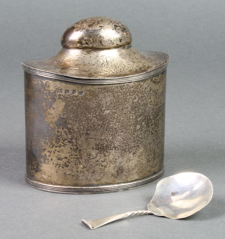 "Lot 691, An unusual oval Victorian silver tea caddy the interior with original fitted spoon, Birmingham 1891, 178 grams, 4"", sold for £220"