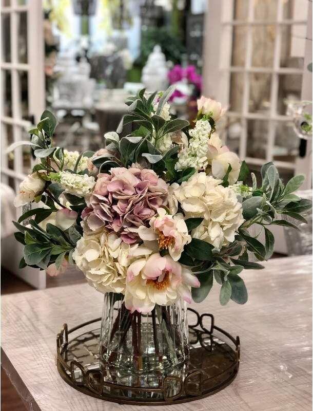 Mixed Floral Arrangement In Glass Vase Fresh Flowers Arrangements Glass Vases Centerpieces Artificial Floral Arrangements