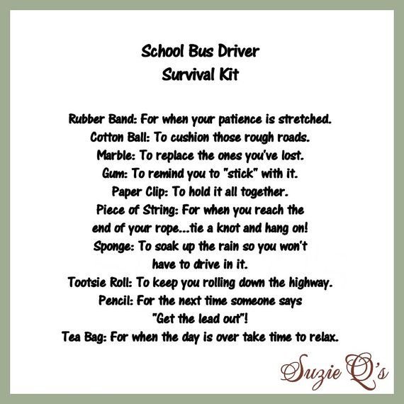 School Bus Driver Survival Kit includes Topper by SuzieQsCrafts