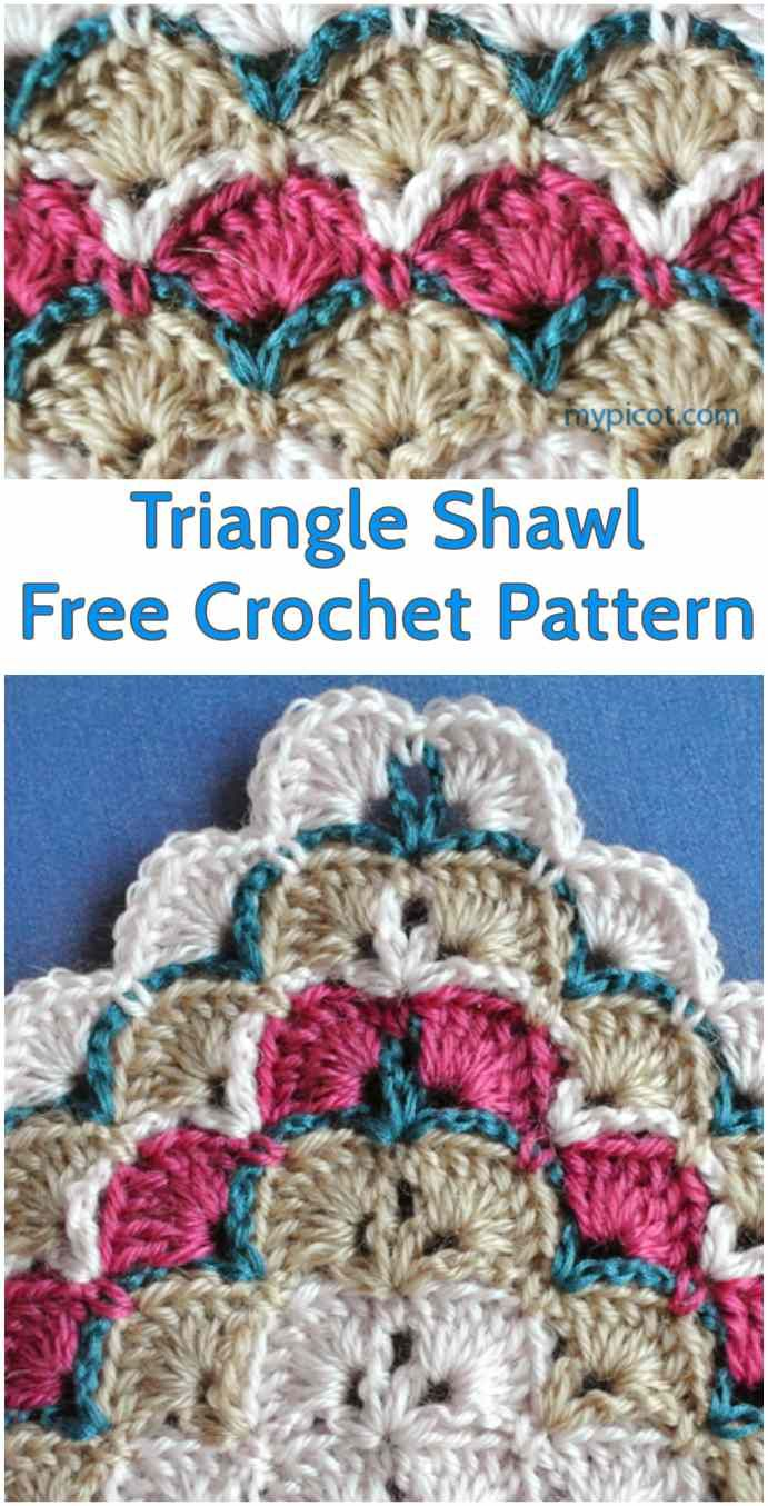 55 best crochet stitches and tutorials images on pinterest triangle colored crochet shawl free crochet pattern bankloansurffo Choice Image