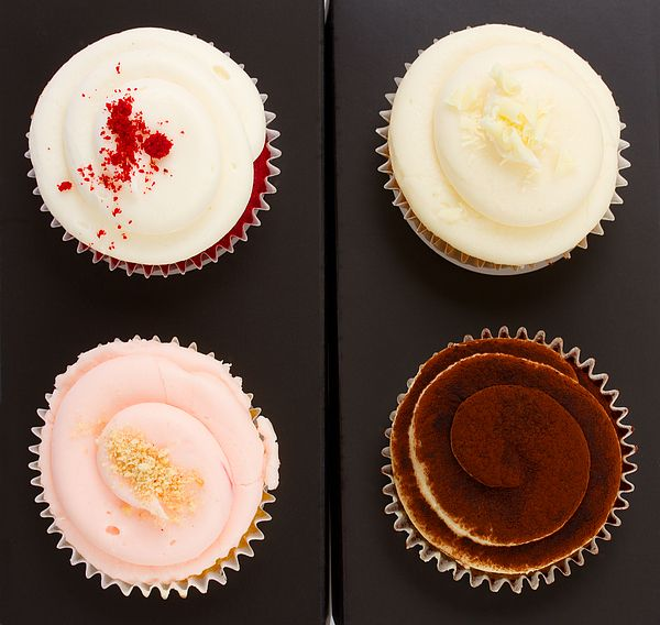 Four of varies cupcakes ob black background Anastasy Yarmolovich #AnastasyYarmolovichFineArtPhotography  #ArtForHome #Food