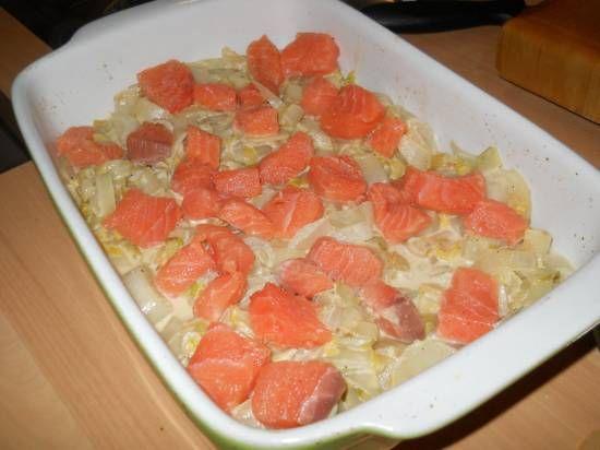 Wat was dat een lekkere combinatie!! En zo gemakkelijk te maken. Eerst de witlof roerbakken, dan de rauwe zalm erop en dan de aardappelpuree.De zalm is precies...