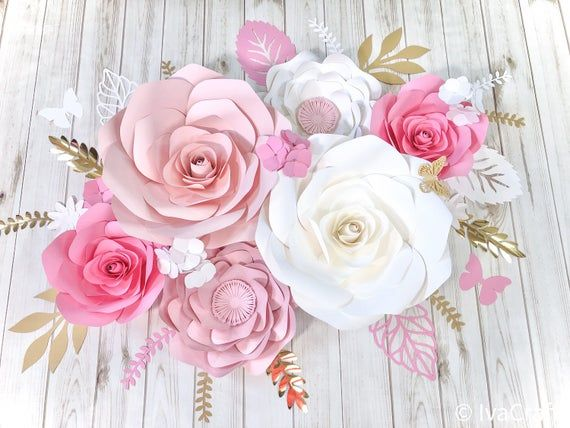 baby nursery Paper roses paper flower backdrop nursery decor Set of 6 paper flowers