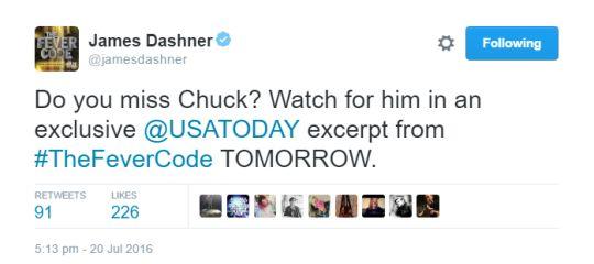 James Dashner´s tweet - Chuck
