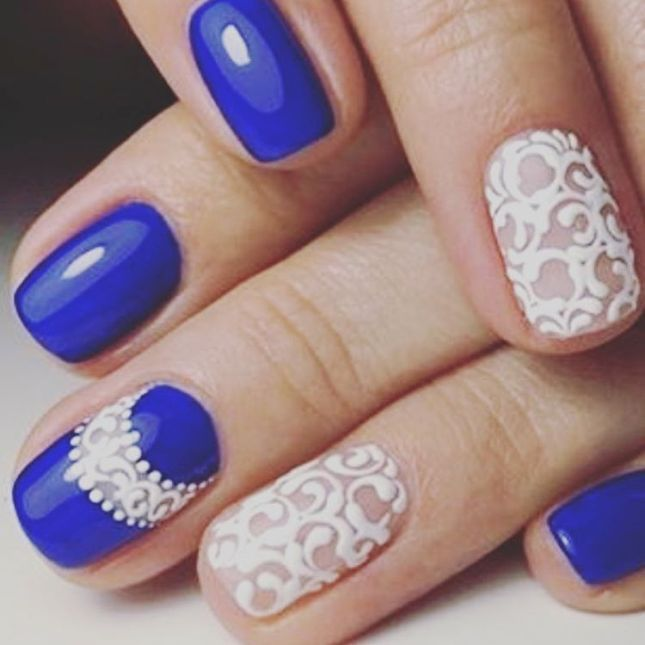 Lace royal blue nail design