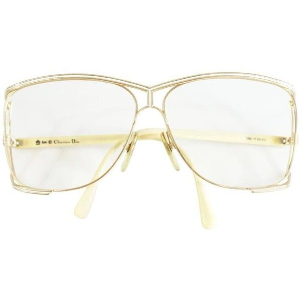 Preowned Christian Dior Gold Thin Frames - 1970's ($350) ❤ liked on Polyvore featuring accessories, eyewear, sunglasses, white, oversized sunglasses, thin sunglasses, over sized sunglasses, christian dior sunglasses and gold glasses