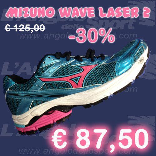 #Mizuno Wave Laser 2  Air Mesh con rinforzi in pelle sintetica. Plantare sagomato in EVA estraibile, tecnologia ammortizzante e stabilizzante Parallel Wave in zona medio/posteriore più SR Touch nel tallone. Elasticità e comfort, uniti a protezione ed ammortizzamento, ideali per un atleta di peso medio e leggero.  Da € 125 sconto -30% a SOLO € 87,50!  http://buff.ly/KO3QJC  #running #correre