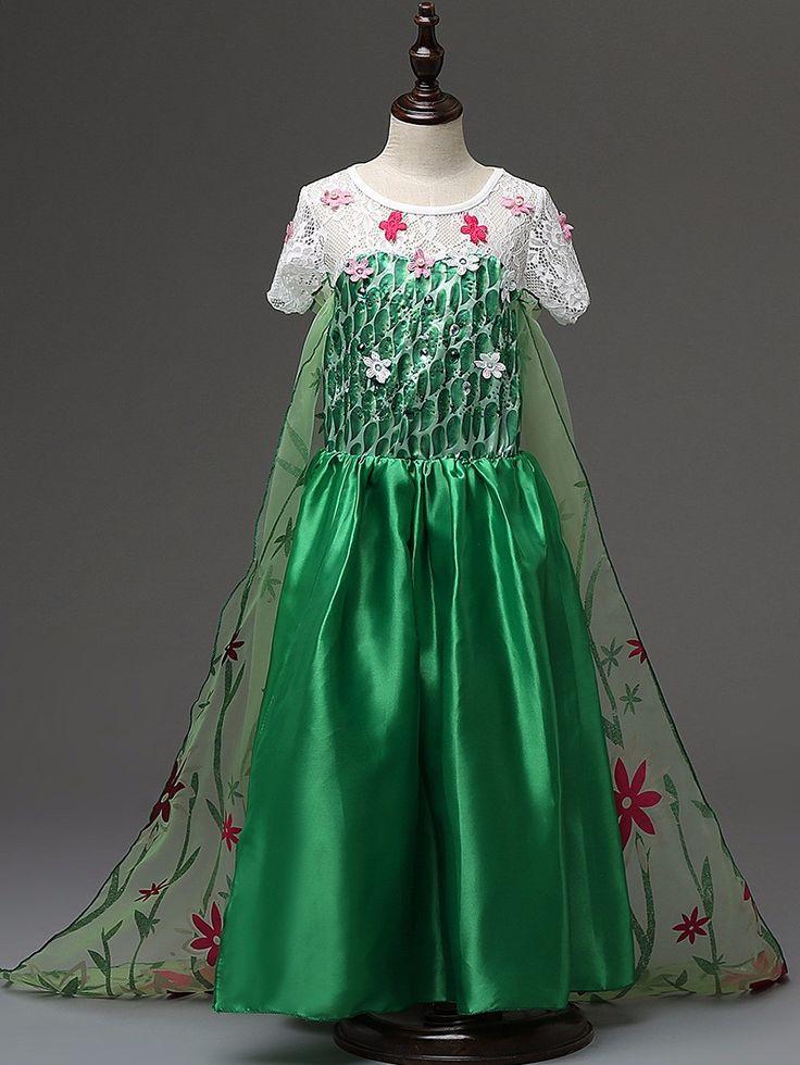 Fever green elsa Costumes girls dresses cosplay party dress princess anna costumes kids vestido elsa de festa fantasia infantil