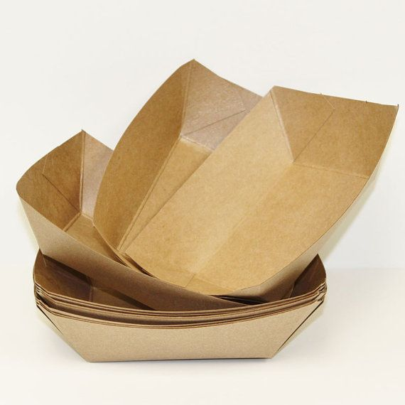 Brown Kraft Food Trays, 15 Brown Paper Food Tray / Boats, Party Trays, Sandwich, Hot dog, Nachos, Popcorn and Peanuts