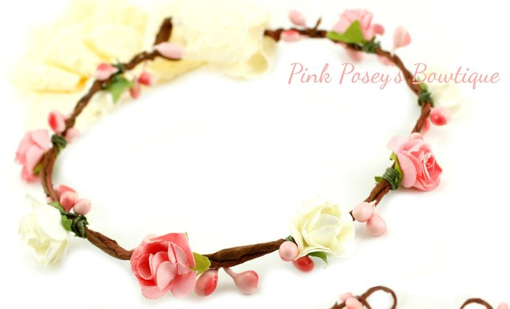 Pink And Ivory Floral Crown Headband