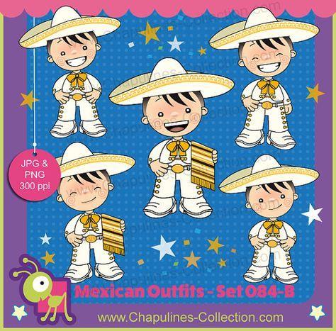 60% desc. Clipart de niños con traje de charro blanco con dorado, traje típico, Independencia, Revolución Mexicana, 5 de Mayo 084-B