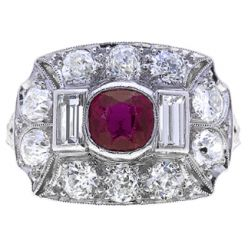 2C9 Art Deco Ruby & Diamond Ring w Baguettes