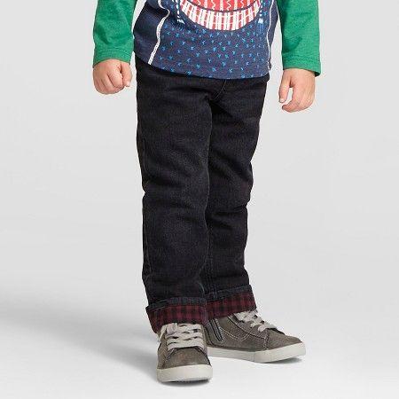 Toddler Boys' Ribbed-Waist Flannel Lined Jeans Black 3T - Cat & Jack™ : Target