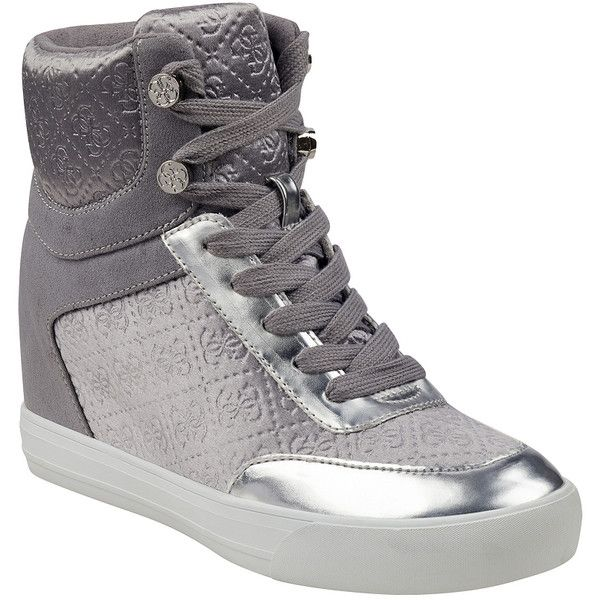 GUESS Daylana Hidden-Wedge Sneakers featuring polyvore women's fashion shoes sneakers guess footwear wedge trainers wedge sneaker guess sneaker guess shoes