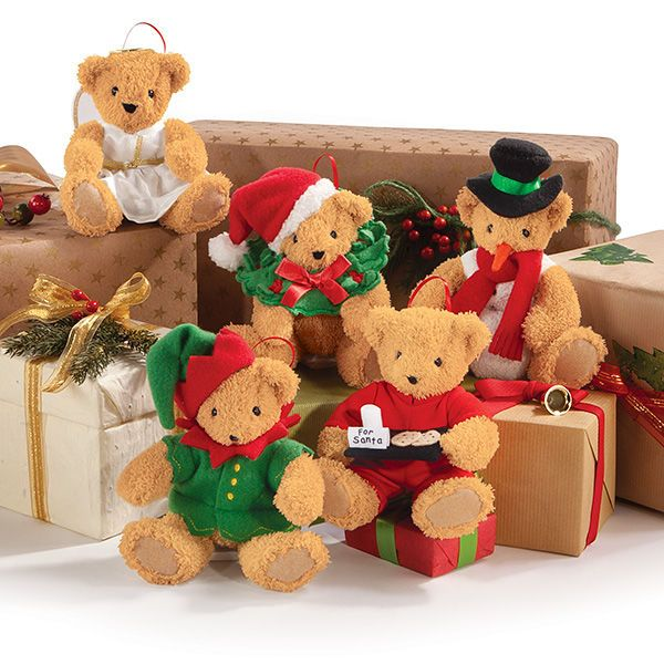 Stuffed Animal Ornament - Vermont Teddy Bear's stuffed animal ornament set features five bears that are designed to add a charming touch to one's home. The adora...