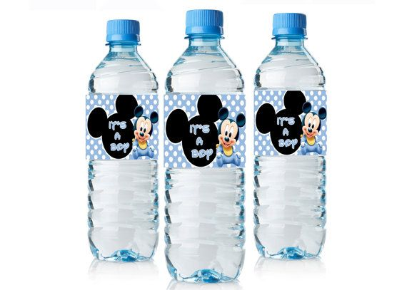 Baby Shower Mickey Mouse water bottle labels - Instant Download - Baby Mickey Water Bottle wrappers