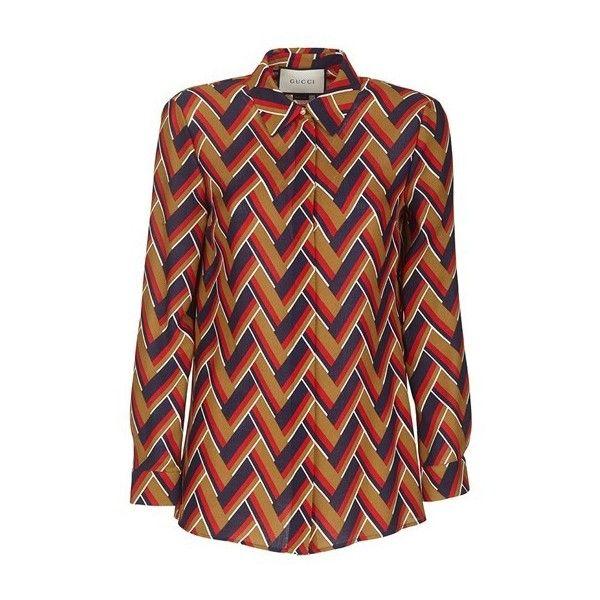 GUCCI Chevron Print Shirt (3.825 BRL) ❤ liked on Polyvore featuring tops, shirts, multi, chevron top, gucci, red chevron shirt, gucci tops and gucci shirts