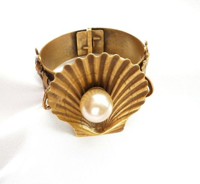 Joseff of Hollywood Shell Bracelet with Dolphins and Imitation Pearls