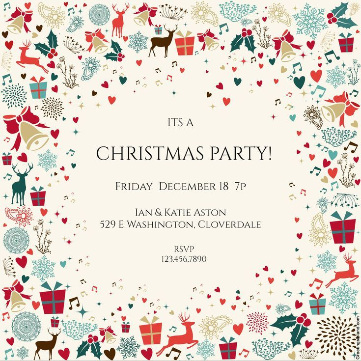 15 Free Printable Christmas Party Invitations: Signs of the Season Christmas Party Invitation from Greetings Island