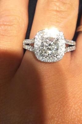 Vera Wang LOVE Collection 2 CT. T.W. Diamond Frame Split Shank Engagement Ring in 14K White Gold you know only 10 grand :)- GIMME