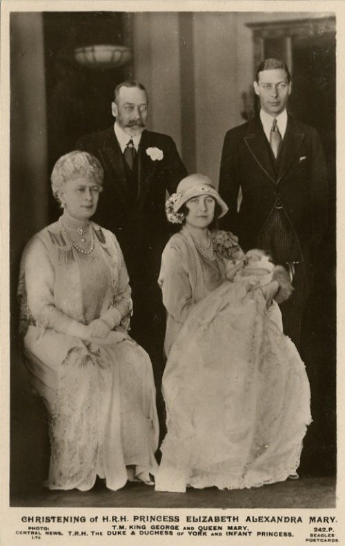T.M. King George and Queen Mary with T.R.H. The Duke and Duchess of York after the christening of their daughter, H.R.H. Princess Elizabeth Alexandra Mary