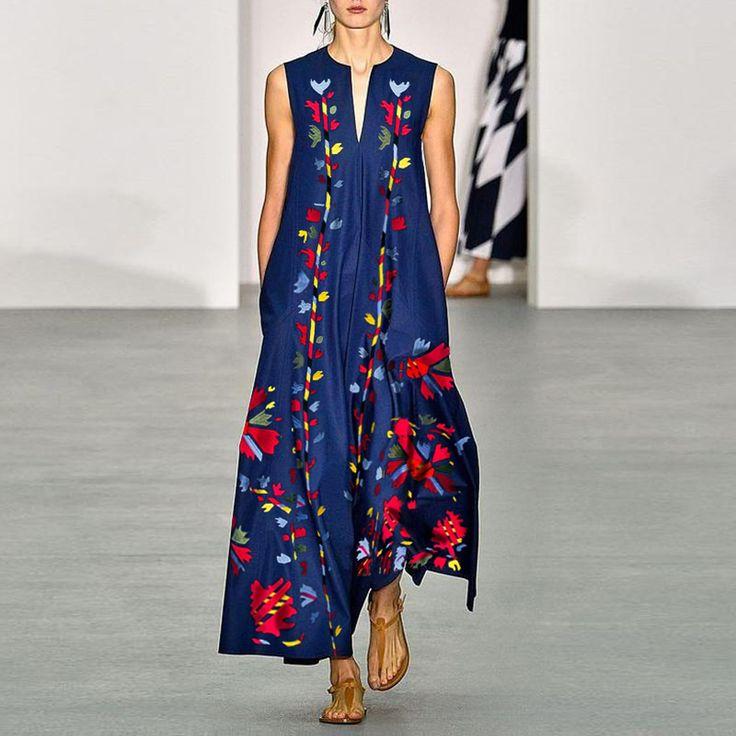 Casual V-Neck Cotton/Linen Printed Dress