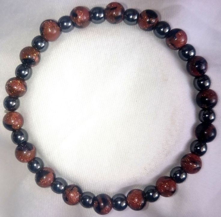 Hämatit Blau - Goldfluss Heilstein Armband Bracelet