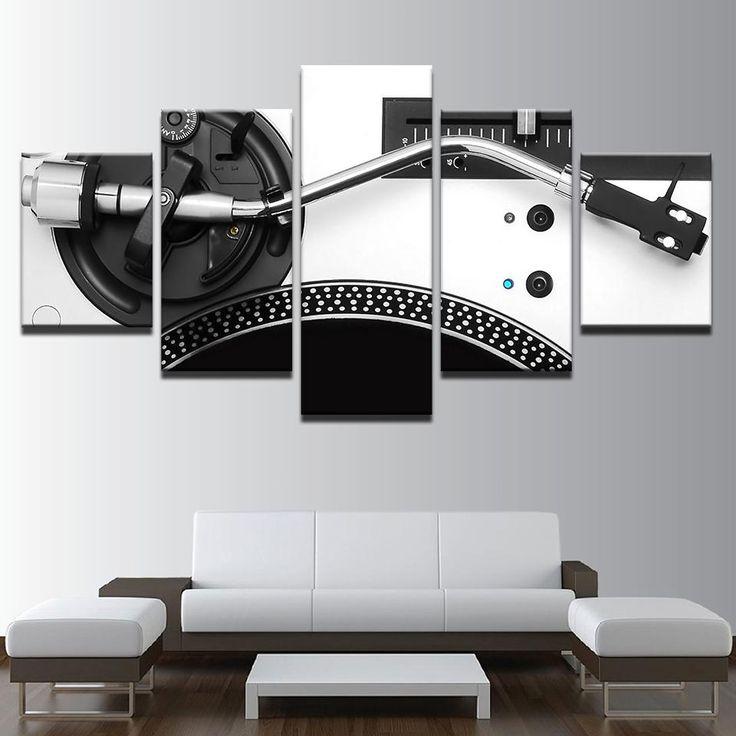 5 panels music dj console wall art canvas