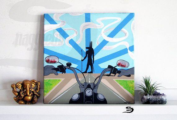 Anubis motorfiets originele surrealistisch schilderij