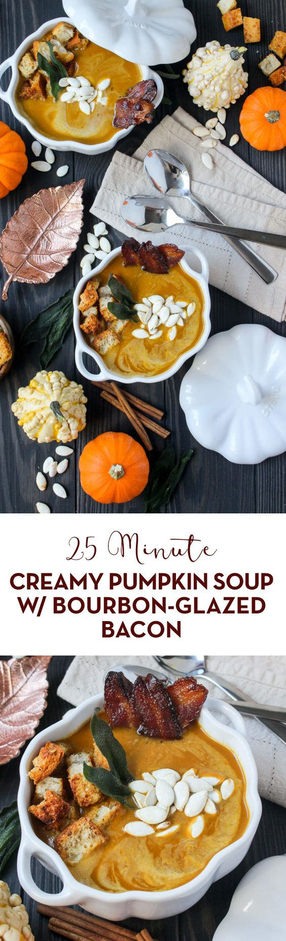 Ready in just 30 minutes, this outrageously easy Creamy Pumpkin Soup w/ Bourbon-Glazed Bacon is perfect for Thanksgiving and beyond! #soup #souprecipes #comfortfood #bacon #bourbon #dinnerideas #pumpkin #pumpkinsoup #fallrecipes #winterrecipes