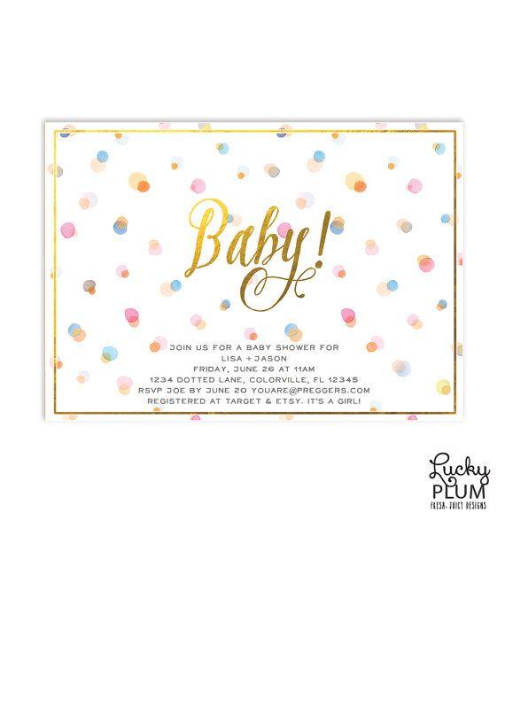 Dots Baby Shower Invitation / Modern Baby Shower Invite / Whimsical Shower Invite Invite / Polka Dots Baby Shower Invite / *Digital file*