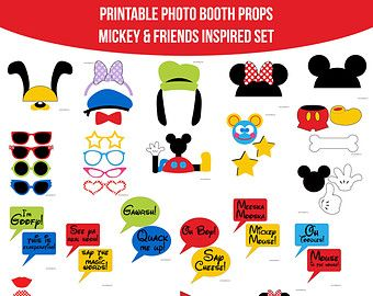 Instant Download Mickey Mouse and Friends Inspired Mickey Mouse Clubhouse Birthday Party Printable Photo Booth Props Photobooth Props-N