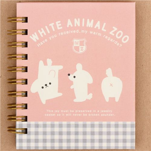 kawaii pale rosa white dog ring binder notebook by Q-Lia 1