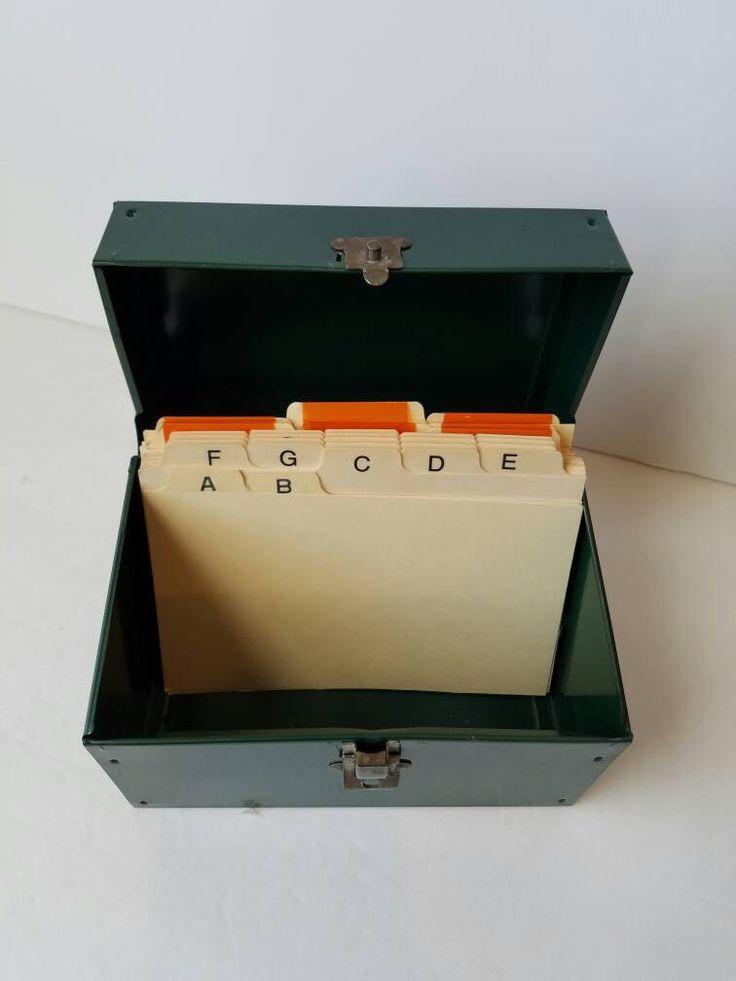 Vintage Metal Address File Box 4x6 Dividers Green Recipe Index Card Holder Organization Industrial Decor - Metal File Box - Metal Card File by SissyBoomsPartyRoom on Etsy