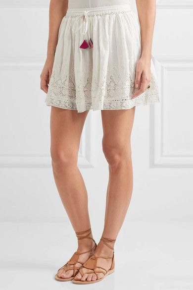 LoveShackFancy - Phoebe Crochet-trimmed Swiss-dot Cotton Skirt - Ivory - x small