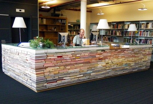 The new architecture library at Delft University of Technology just opened featuring a spectacular front desk built out of recycled books.     Read more: TU Delft Architecture Library Desk Made From Books | Inhabitat - Green Design Will Save the World
