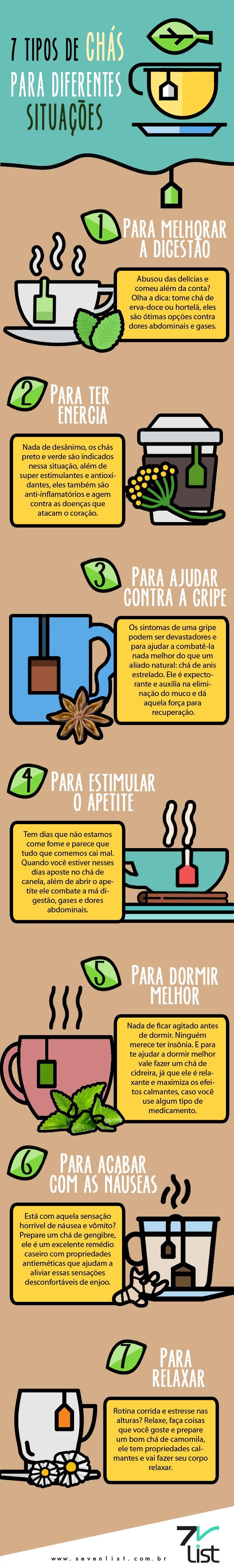 7 tipos de chás para diferentes situações.