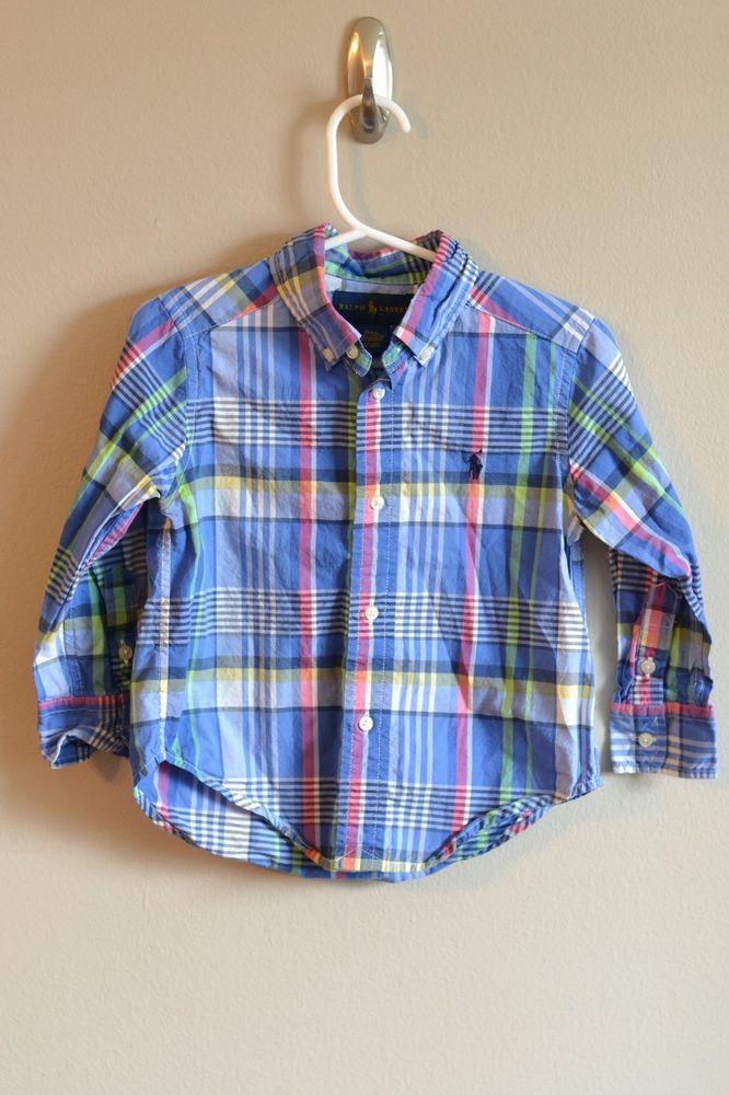 0f6c0d263 Toddler Boys Ralph Lauren Shirt Long Sleeve Button Up 2T Plaid ...