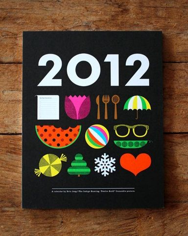 Illustrated icon based calendar cover
