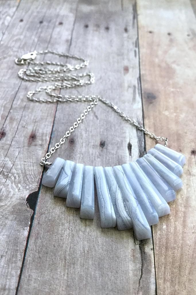 Blue Lace Agate Necklace,  Natural Stone Bib Fan Necklace, Long Silver Chain