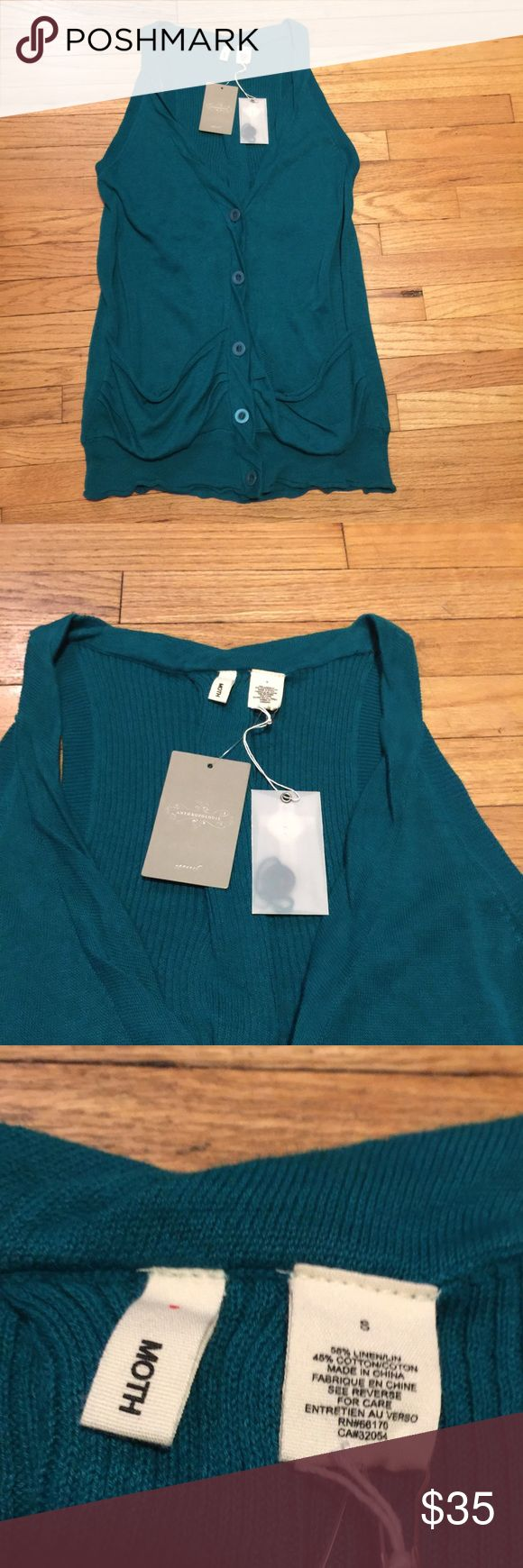 NWT Anthropologie Moth teal sleeveless sweater - S NWT Anthropologie Moth teal sleeveless sweater - Small. Armpit to armpit - 17 inches. Length - 29 inches. Brand new with tags. Anthropologie Sweaters Cardigans